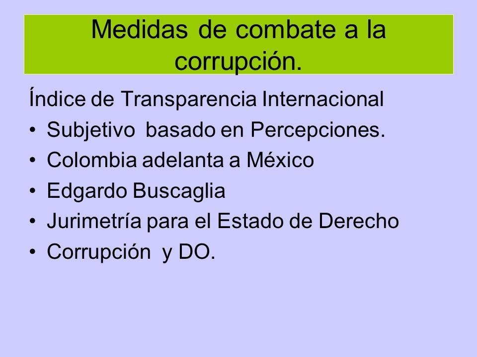 Medidas de combate a la corrupción.