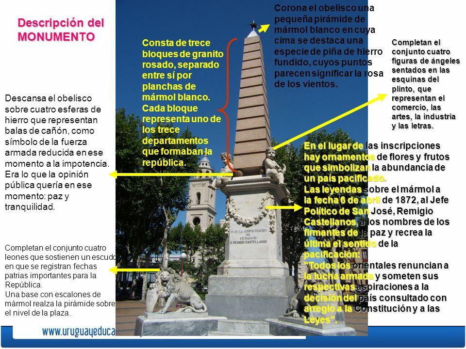 Descripción del MONUMENTO Consta de trece bloques de granito rosado, separado entre sí por planchas de mármol blanco.