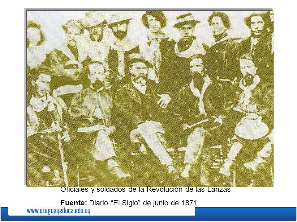 Oficiales y soldados de la Revolución de las Lanzas Fuente: Diario El Siglo de junio de 1871