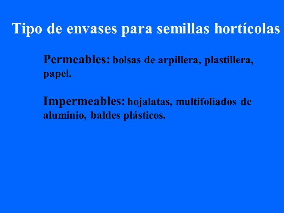 Tipo de envases para semillas hortícolas Permeables: bolsas de arpillera, plastillera, papel. Impermeables: hojalatas, multifoliados de aluminio, bald