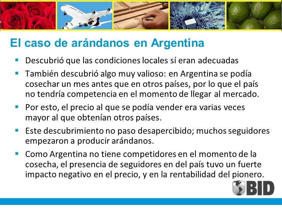 El caso de arándanos en Argentina Descubrió que las condiciones locales sí eran adecuadas También descubrió algo muy valioso: en Argentina se podía cosechar un mes antes que en otros países, por lo que el país no tendría competencia en el momento de llegar al mercado.