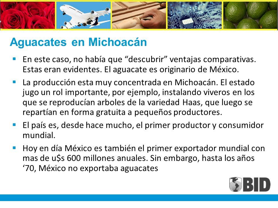 Aguacates en Michoacán En este caso, no había que descubrir ventajas comparativas.