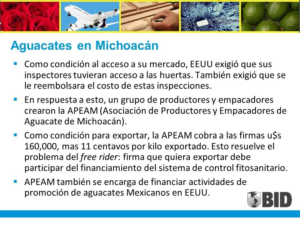 Aguacates en Michoacán Como condición al acceso a su mercado, EEUU exigió que sus inspectores tuvieran acceso a las huertas.