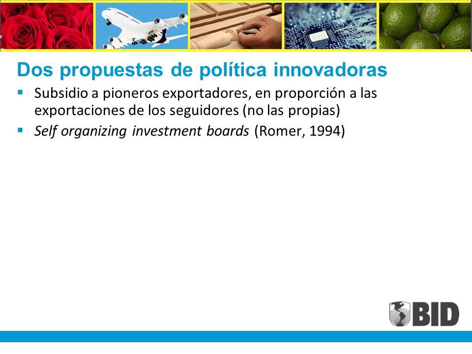 Dos propuestas de política innovadoras Subsidio a pioneros exportadores, en proporción a las exportaciones de los seguidores (no las propias) Self organizing investment boards (Romer, 1994)