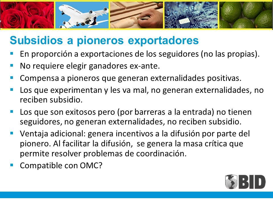 Subsidios a pioneros exportadores En proporción a exportaciones de los seguidores (no las propias).