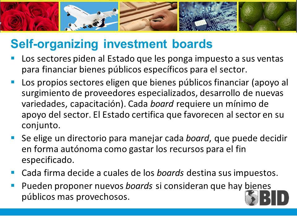 Self-organizing investment boards Los sectores piden al Estado que les ponga impuesto a sus ventas para financiar bienes públicos específicos para el sector.