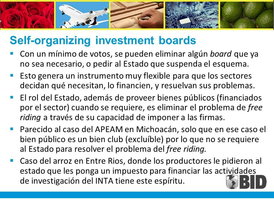 Self-organizing investment boards Con un mínimo de votos, se pueden eliminar algún board que ya no sea necesario, o pedir al Estado que suspenda el esquema.