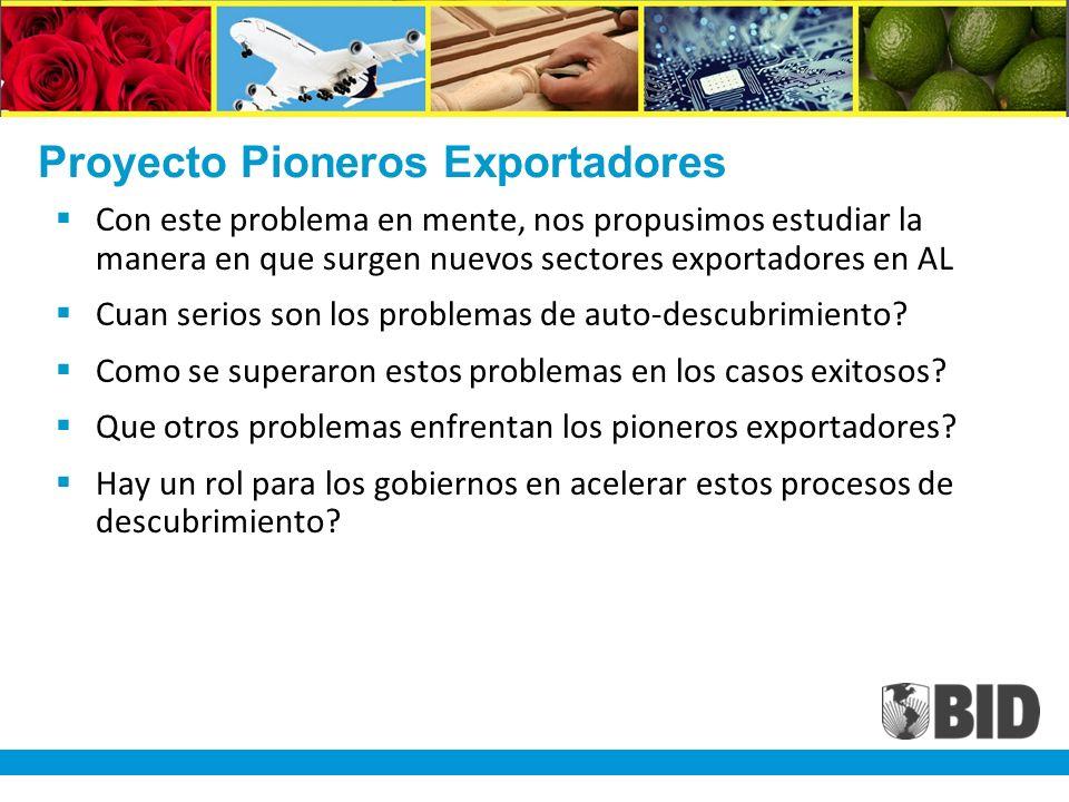 Proyecto Pioneros Exportadores Con este problema en mente, nos propusimos estudiar la manera en que surgen nuevos sectores exportadores en AL Cuan serios son los problemas de auto-descubrimiento.
