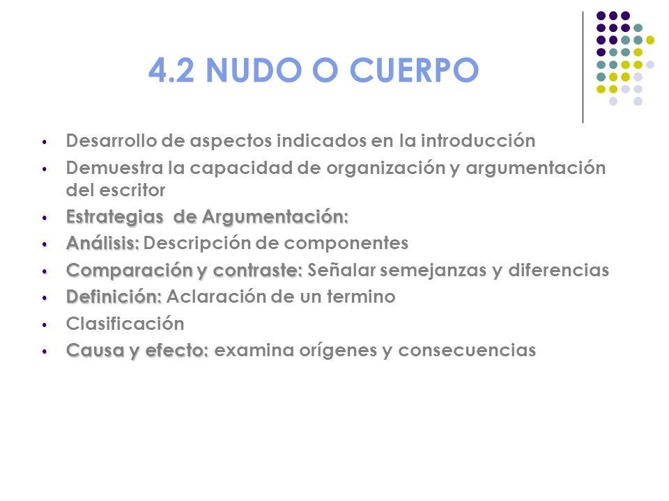4.2 NUDO O CUERPO Desarrollo de aspectos indicados en la introducción Demuestra la capacidad de organización y argumentación del escritor Estrategias