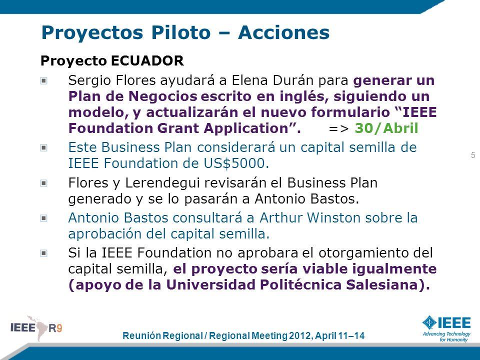 Reunión Regional / Regional Meeting 2012, April 11–14 Proyectos Piloto – Acciones Proyecto ECUADOR Sergio Flores ayudará a Elena Durán para generar un