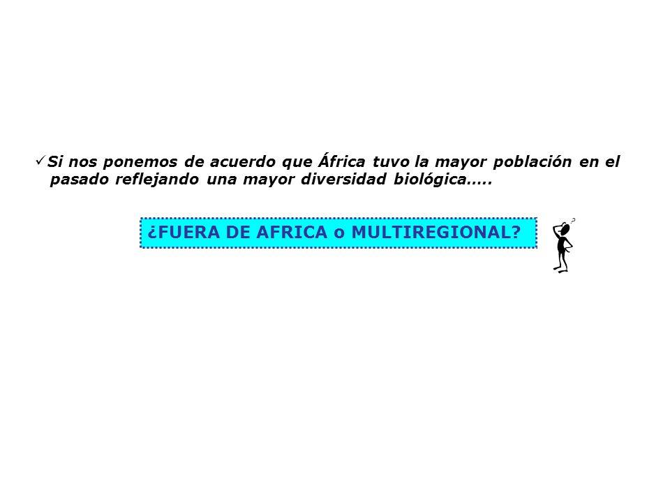 Si nos ponemos de acuerdo que África tuvo la mayor población en el pasado reflejando una mayor diversidad biológica….. ¿FUERA DE AFRICA o MULTIREGIONA