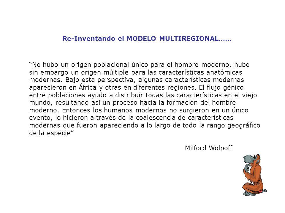 Re-Inventando el MODELO MULTIREGIONAL…… No hubo un origen poblacional único para el hombre moderno, hubo sin embargo un origen múltiple para las carac