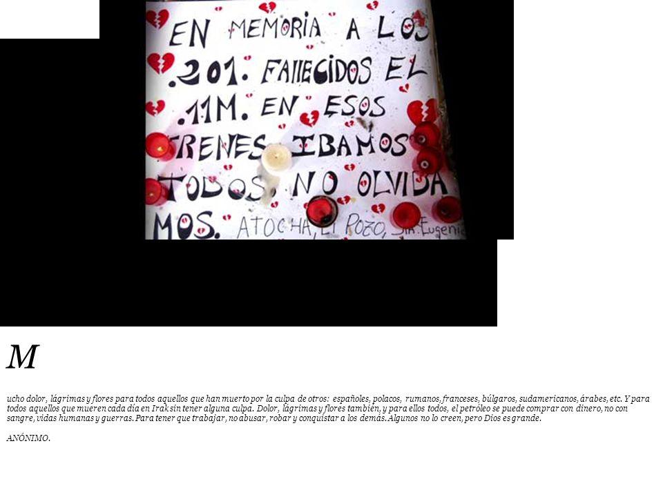 M ucho dolor, lágrimas y flores para todos aquellos que han muerto por la culpa de otros: españoles, polacos, rumanos, franceses, búlgaros, sudamericanos, árabes, etc.