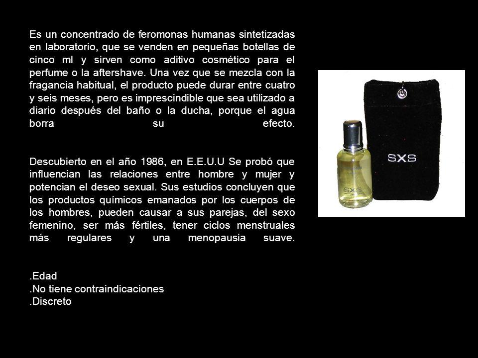 Es un concentrado de feromonas humanas sintetizadas en laboratorio, que se venden en pequeñas botellas de cinco ml y sirven como aditivo cosmético par