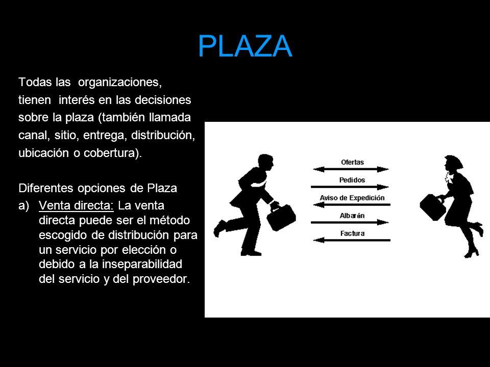 PLAZA Todas las organizaciones, tienen interés en las decisiones sobre la plaza (también llamada canal, sitio, entrega, distribución, ubicación o cobe