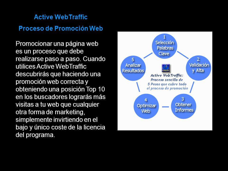 Active WebTraffic Proceso de Promoción Web Promocionar una página web es un proceso que debe realizarse paso a paso. Cuando utilices Active WebTraffic