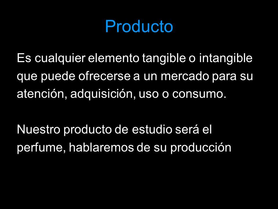 Producto Es cualquier elemento tangible o intangible que puede ofrecerse a un mercado para su atención, adquisición, uso o consumo. Nuestro producto d