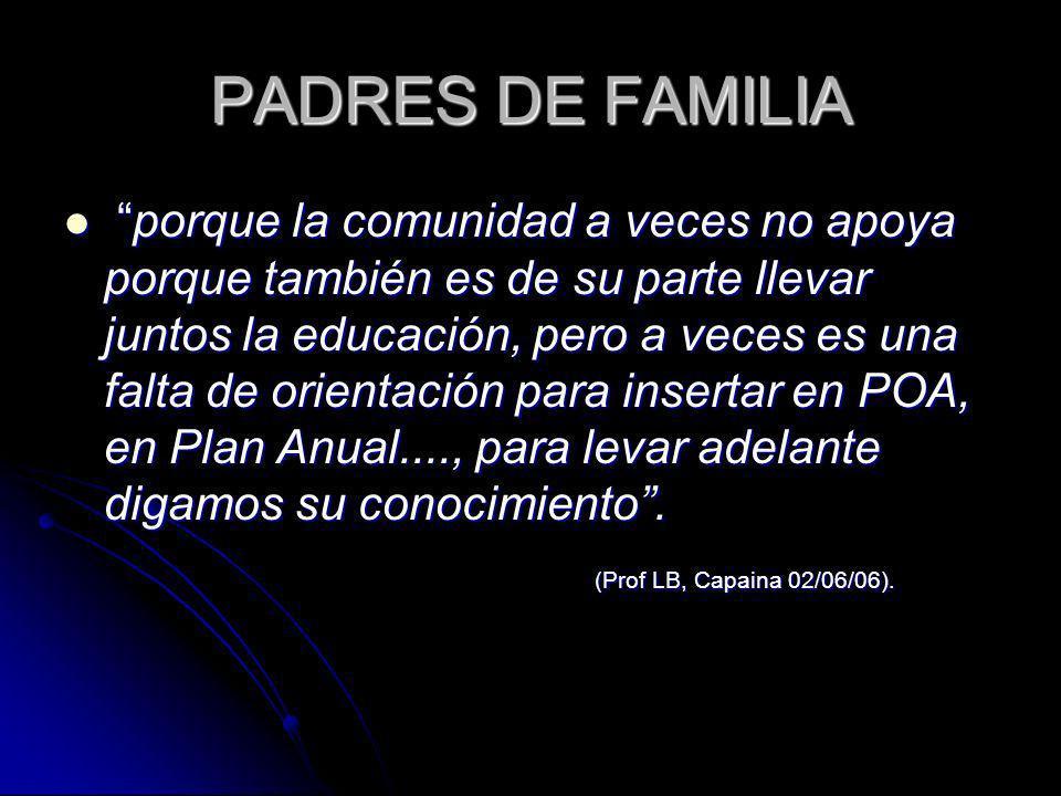 PADRES DE FAMILIA porque la comunidad a veces no apoya porque también es de su parte llevar juntos la educación, pero a veces es una falta de orientac