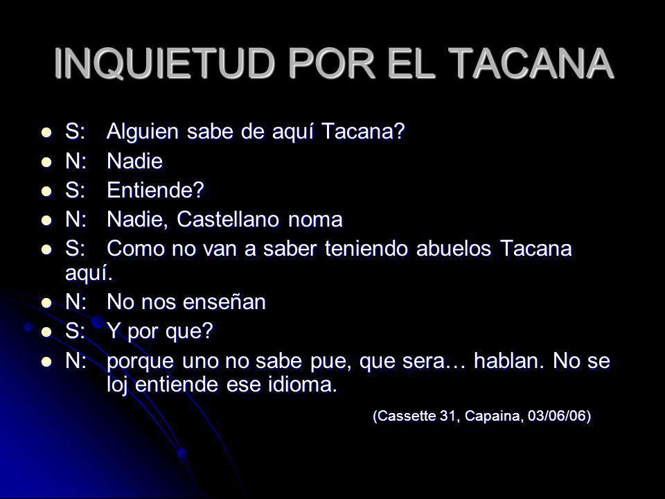 INQUIETUD POR EL TACANA S:Alguien sabe de aquí Tacana? S:Alguien sabe de aquí Tacana? N:Nadie N:Nadie S:Entiende? S:Entiende? N:Nadie, Castellano noma