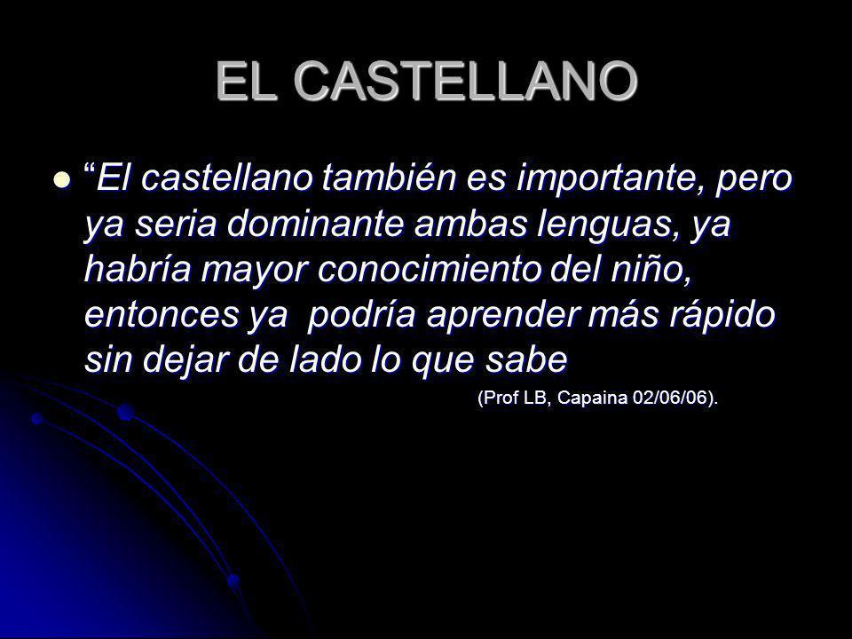 EL CASTELLANO El castellano también es importante, pero ya seria dominante ambas lenguas, ya habría mayor conocimiento del niño, entonces ya podría ap