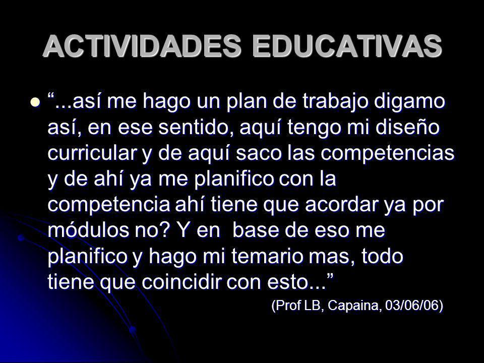 ACTIVIDADES EDUCATIVAS...así me hago un plan de trabajo digamo así, en ese sentido, aquí tengo mi diseño curricular y de aquí saco las competencias y