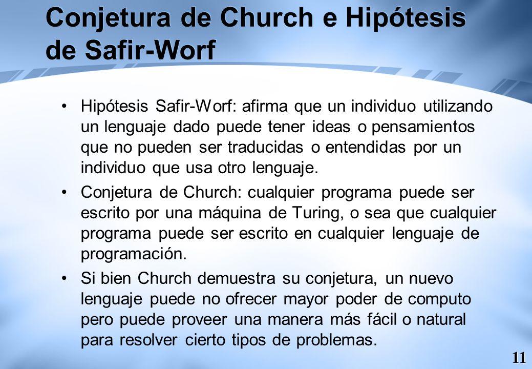 11 Conjetura de Church e Hipótesis de Safir-Worf Hipótesis Safir-Worf: afirma que un individuo utilizando un lenguaje dado puede tener ideas o pensami