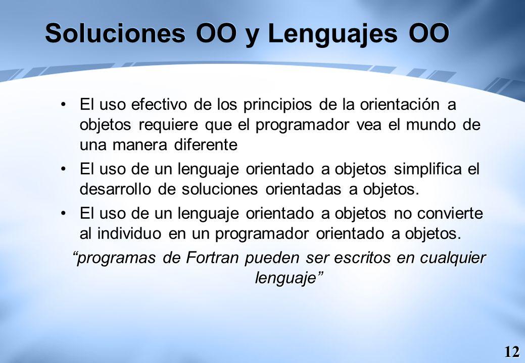 12 Soluciones OO y Lenguajes OO El uso efectivo de los principios de la orientación a objetos requiere que el programador vea el mundo de una manera d