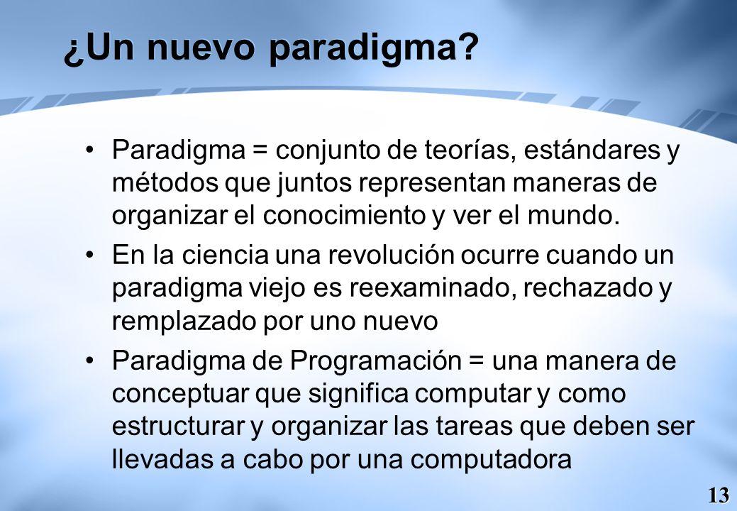 13 ¿Un nuevo paradigma? Paradigma = conjunto de teorías, estándares y métodos que juntos representan maneras de organizar el conocimiento y ver el mun