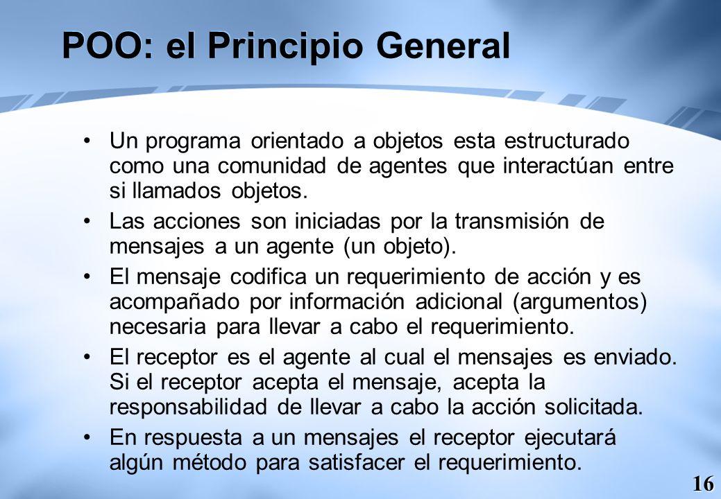 16 POO: el Principio General Un programa orientado a objetos esta estructurado como una comunidad de agentes que interactúan entre si llamados objetos
