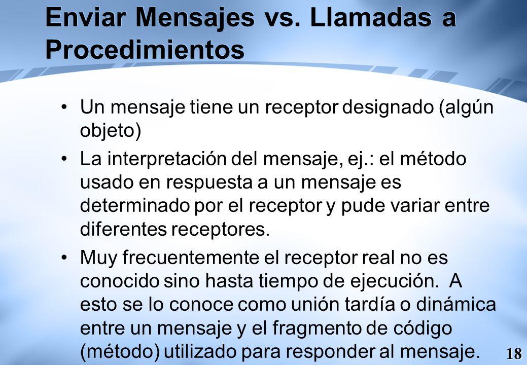 18 Enviar Mensajes vs. Llamadas a Procedimientos Un mensaje tiene un receptor designado (algún objeto) La interpretación del mensaje, ej.: el método u