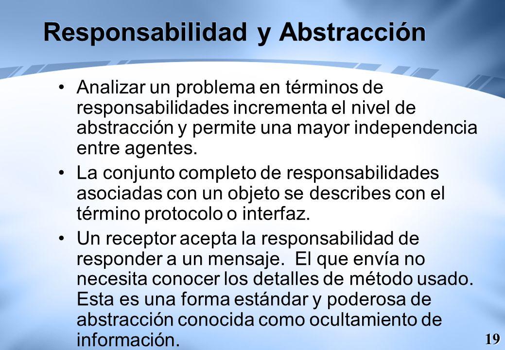 19 Responsabilidad y Abstracción Analizar un problema en términos de responsabilidades incrementa el nivel de abstracción y permite una mayor independ