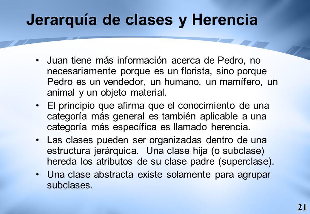 21 Jerarquía de clases y Herencia Juan tiene más información acerca de Pedro, no necesariamente porque es un florista, sino porque Pedro es un vendedo