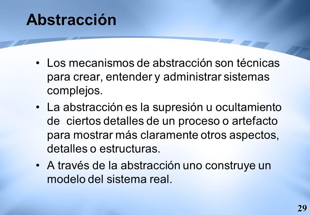 29 Abstracción Los mecanismos de abstracción son técnicas para crear, entender y administrar sistemas complejos. La abstracción es la supresión u ocul