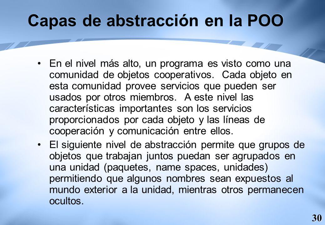30 Capas de abstracción en la POO En el nivel más alto, un programa es visto como una comunidad de objetos cooperativos. Cada objeto en esta comunidad