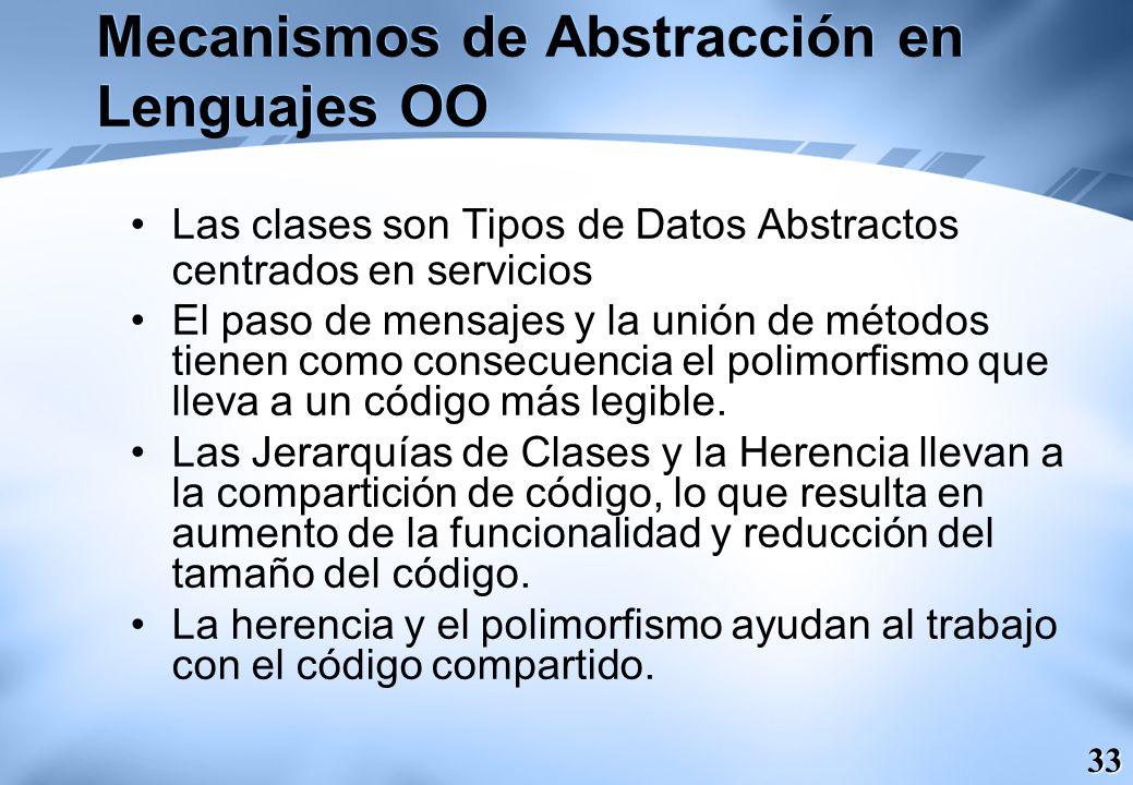 33 Mecanismos de Abstracción en Lenguajes OO Las clases son Tipos de Datos Abstractos centrados en servicios El paso de mensajes y la unión de métodos