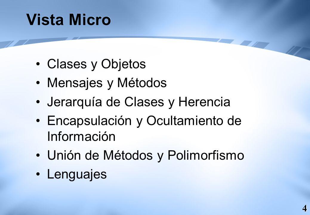 4 Vista Micro Clases y Objetos Mensajes y Métodos Jerarquía de Clases y Herencia Encapsulación y Ocultamiento de Información Unión de Métodos y Polimo