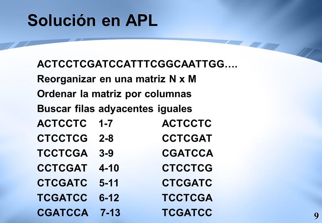 9 Solución en APL ACTCCTCGATCCATTTCGGCAATTGG…. Reorganizar en una matriz N x M Ordenar la matriz por columnas Buscar filas adyacentes iguales ACTCCTC