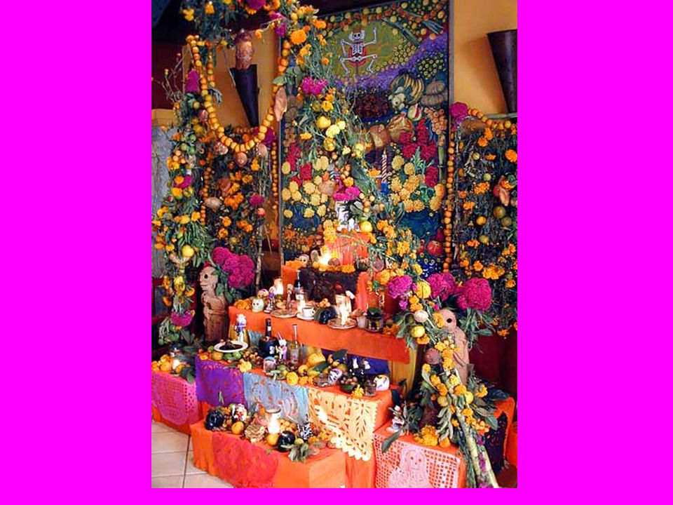 EL ALTAR An area of the home is cleared of furnishings Floors and walls are washed A table is covered with clean sheets, a blanket, or tablecloth Incense is usually burned Many candles are lit