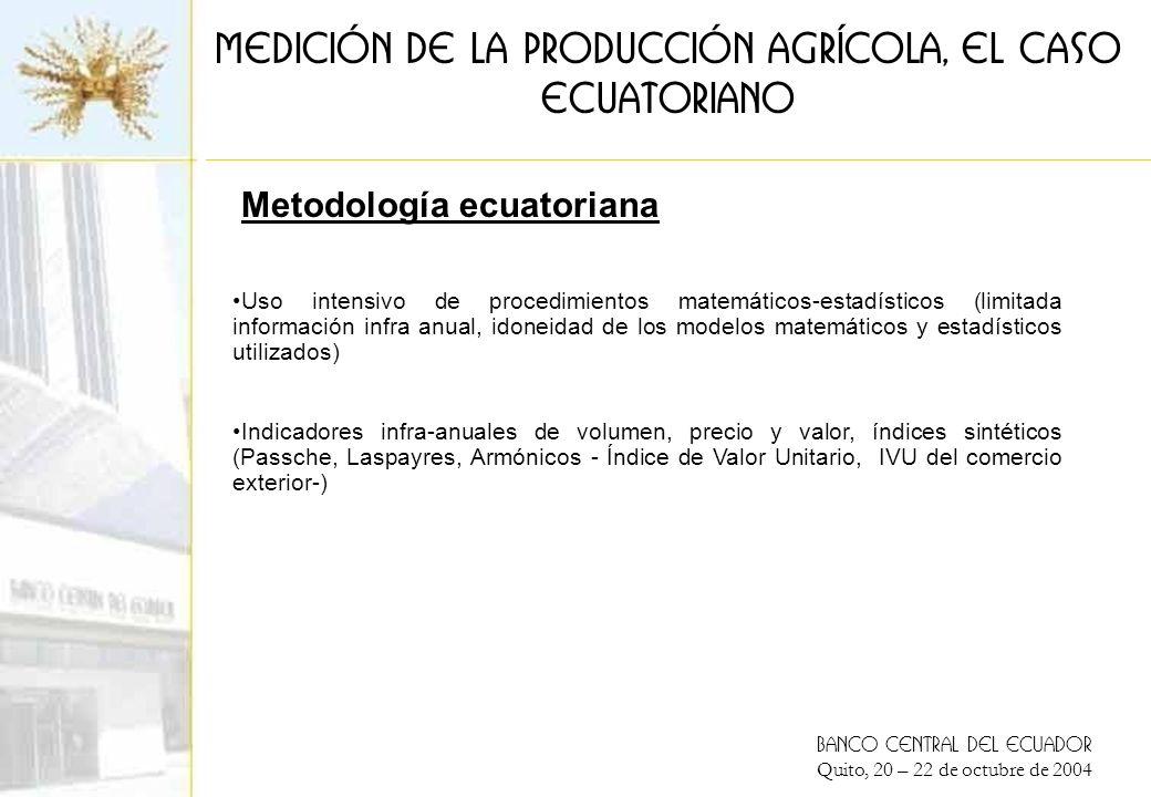 BANCO CENTRAL DEL ECUADOR Quito, 20 – 22 de octubre de 2004 Medición de la producción agrícola, el caso ECUATORIANO Uso intensivo de procedimientos matemáticos-estadísticos (limitada información infra anual, idoneidad de los modelos matemáticos y estadísticos utilizados) Indicadores infra-anuales de volumen, precio y valor, índices sintéticos (Passche, Laspayres, Armónicos - Índice de Valor Unitario, IVU del comercio exterior-) Metodología ecuatoriana