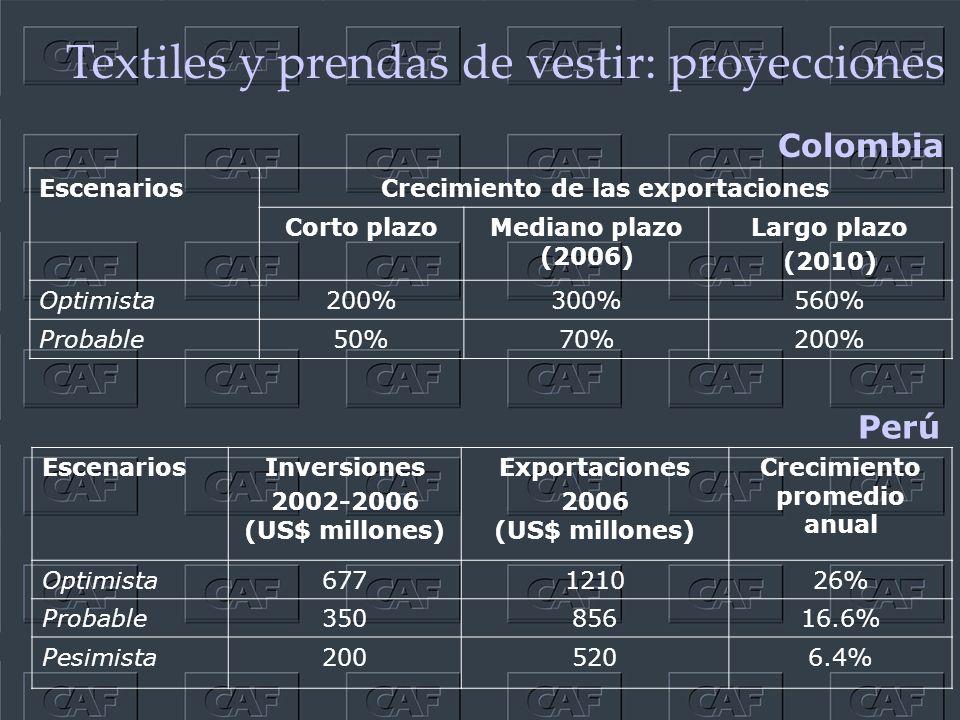 Textiles y prendas de vestir: proyecciones EscenariosInversiones 2002-2006 (US$ millones) Exportaciones 2006 (US$ millones) Crecimiento promedio anual Optimista677121026% Probable35085616.6% Pesimista2005206.4% Perú Colombia EscenariosCrecimiento de las exportaciones Corto plazoMediano plazo (2006) Largo plazo (2010) Optimista200%300%560% Probable50%70%200%