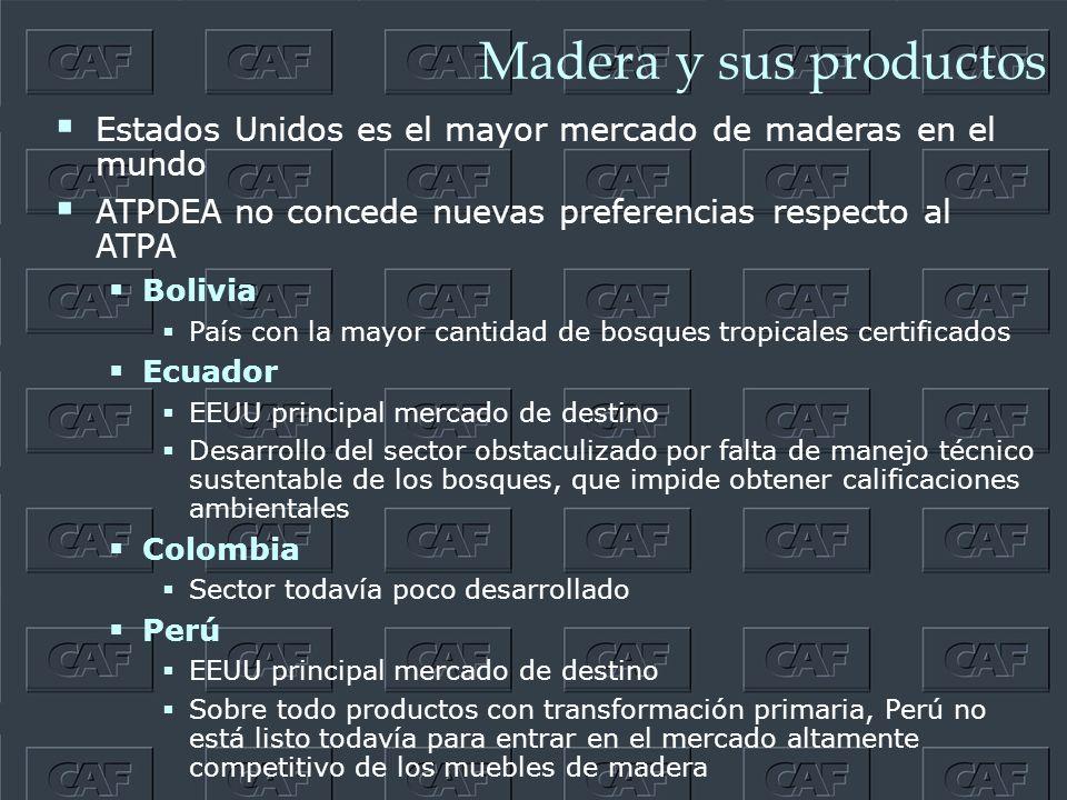 Madera y sus productos Estados Unidos es el mayor mercado de maderas en el mundo ATPDEA no concede nuevas preferencias respecto al ATPA Bolivia País con la mayor cantidad de bosques tropicales certificados Ecuador EEUU principal mercado de destino Desarrollo del sector obstaculizado por falta de manejo técnico sustentable de los bosques, que impide obtener calificaciones ambientales Colombia Sector todavía poco desarrollado Perú EEUU principal mercado de destino Sobre todo productos con transformación primaria, Perú no está listo todavía para entrar en el mercado altamente competitivo de los muebles de madera
