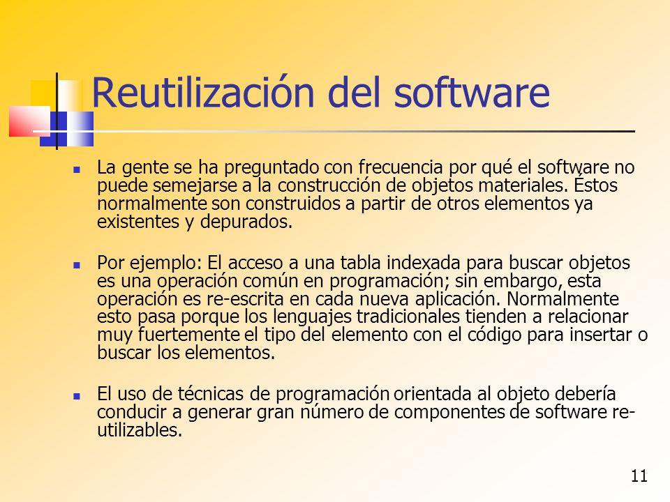11 Reutilización del software La gente se ha preguntado con frecuencia por qué el software no puede semejarse a la construcción de objetos materiales.
