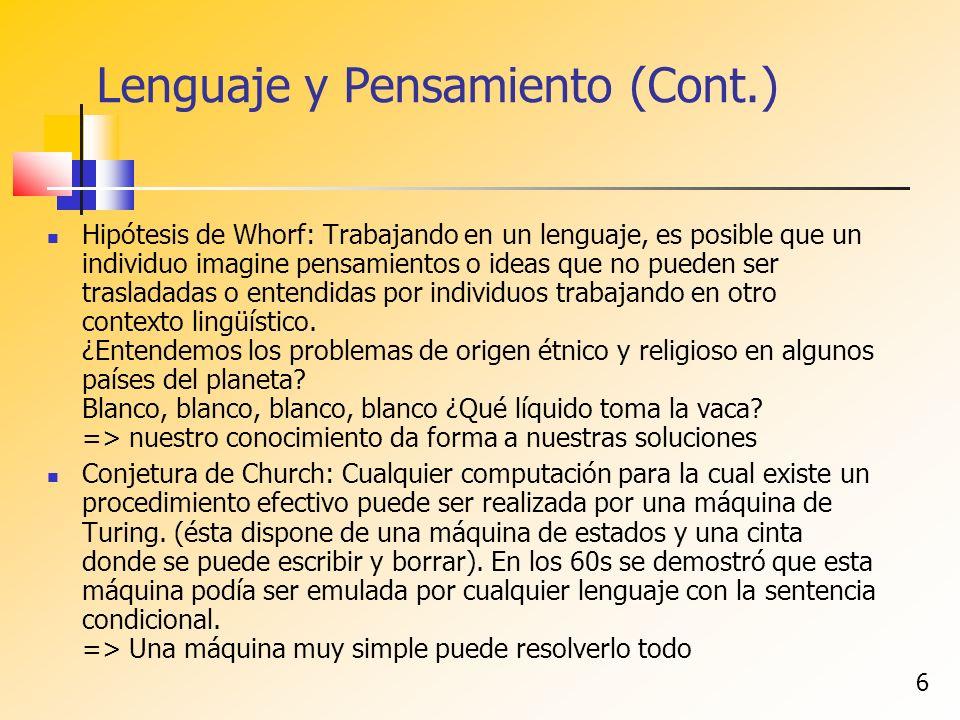 6 Lenguaje y Pensamiento (Cont.) Hipótesis de Whorf: Trabajando en un lenguaje, es posible que un individuo imagine pensamientos o ideas que no pueden ser trasladadas o entendidas por individuos trabajando en otro contexto lingüístico.