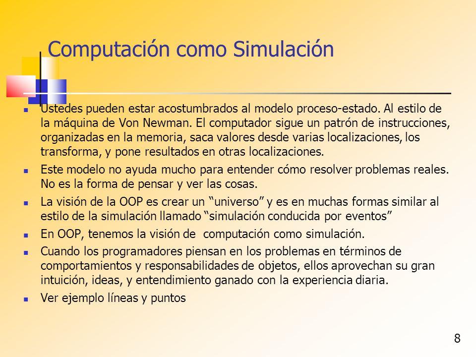 8 Computación como Simulación Ustedes pueden estar acostumbrados al modelo proceso-estado. Al estilo de la máquina de Von Newman. El computador sigue