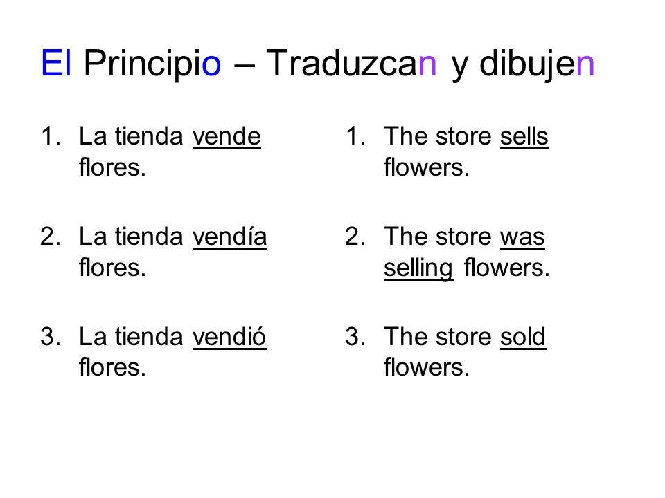 El Principio – Traduzcan y dibujen 1.La tienda vende flores.