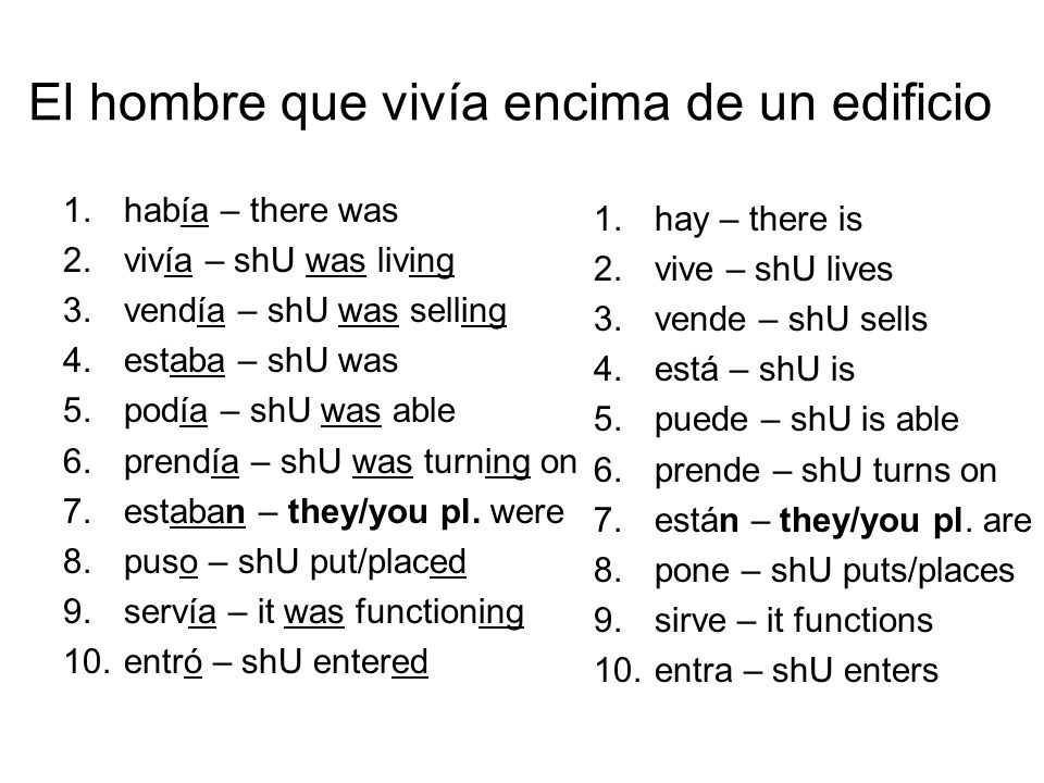 El hombre que vivía encima de un edificio 1.había – there was 2.vivía – shU was living 3.vendía – shU was selling 4.estaba – shU was 5.podía – shU was able 6.prendía – shU was turning on 7.estaban – they/you pl.