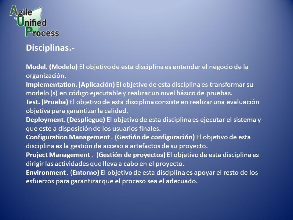 Disciplinas.- Model. (Modelo) El objetivo de esta disciplina es entender el negocio de la organización. Implementation. (Aplicación) El objetivo de es