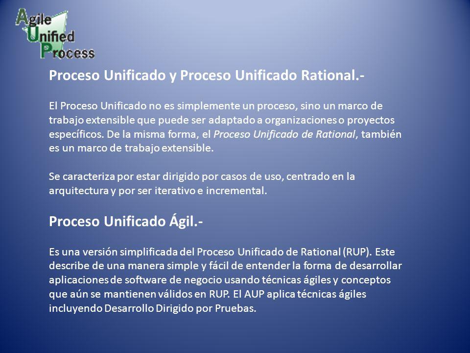 Proceso Unificado y Proceso Unificado Rational.- El Proceso Unificado no es simplemente un proceso, sino un marco de trabajo extensible que puede ser