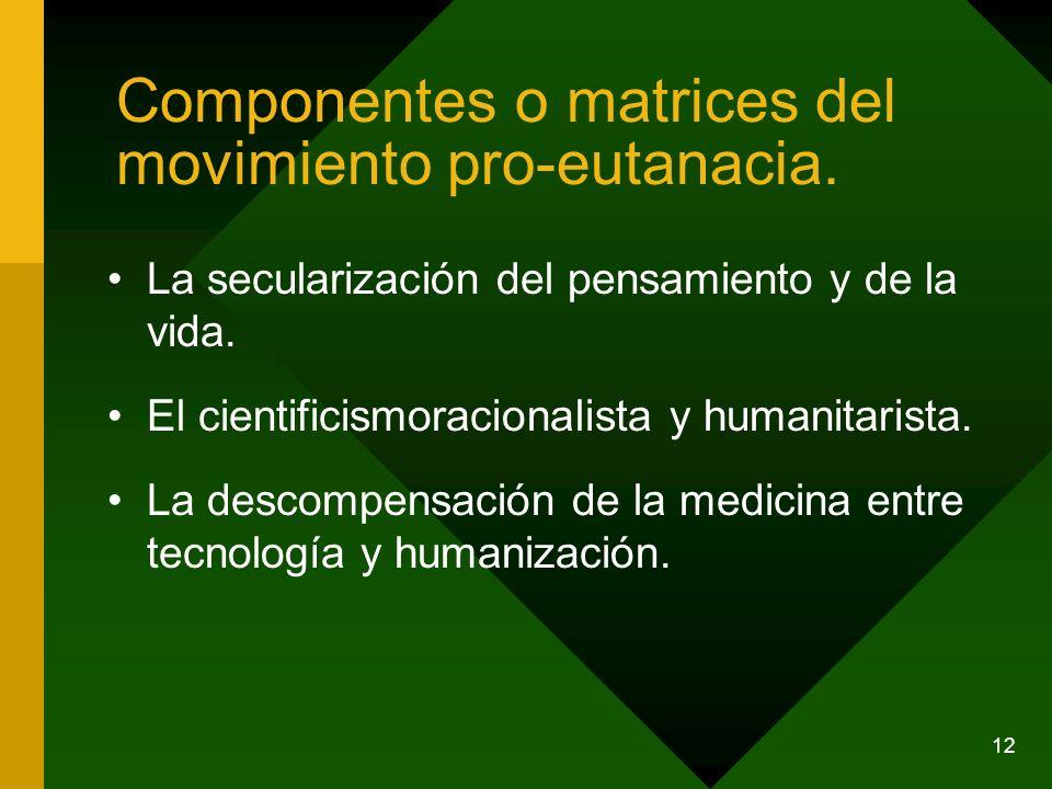 12 Componentes o matrices del movimiento pro-eutanacia. La secularización del pensamiento y de la vida. El cientificismoracionalista y humanitarista.