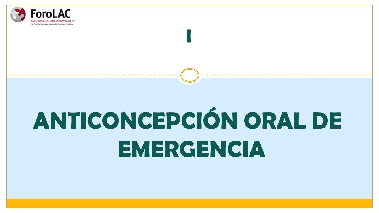 I ANTICONCEPCIÓN ORAL DE EMERGENCIA